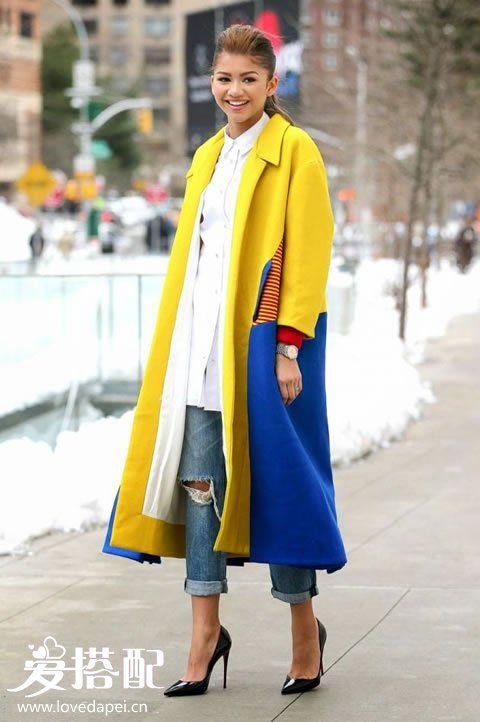 冬季黄色大衣搭配